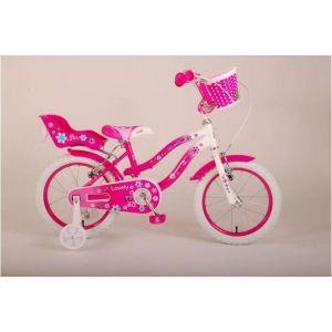 Volare Lovely Kinderfiets Meisjes 16 inch Roze Wit Twee Handremmen 95% afgemonteerd