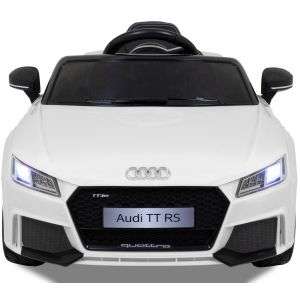 Audi TT RS kinderauto wit koplampen motorkap zijspiegels