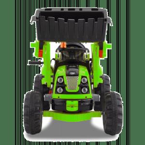 kijana elektrische graafmachine groen vooraanzicht graafbak stuur banden bumper