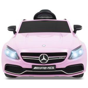 Mercedes C63 AMG kinderauto roze koplampen