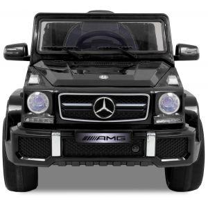 Mercedes kinderauto G63 AMG zwart vooraanzicht logo zijspiegels  motorkap