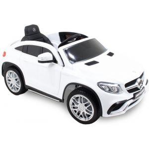 Mercedes GLE63 AMG kinderauto wit zijaanzicht voorkant motorkap koplamp