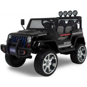 Monster Jeep elektrische kinderauto zwart