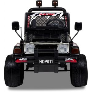 Jeep kinderauto zwart vooraanzicht prijstechnisch