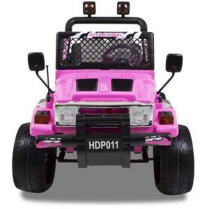 Jeep kinderauto roze vooraanzicht