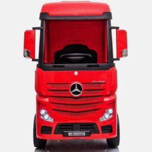 Mercedes Actros vrachtwagen kinderauto rood vooraanzicht autovoorkinderen autosvoorkinderen
