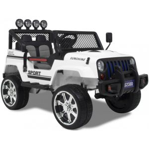 Monster Jeep 4x4 kinderauto wit zijaanzicht voorkant