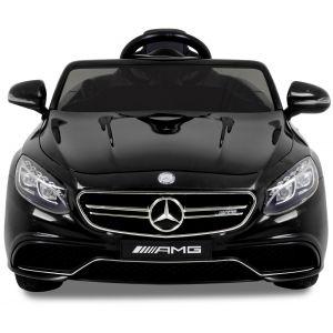 Mercedes kinderauto S63 zwart voorkant koplampen voorruit zijspiegels