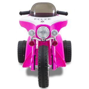 Wheely police kindermotor roze vooraanzicht stuur windscherm