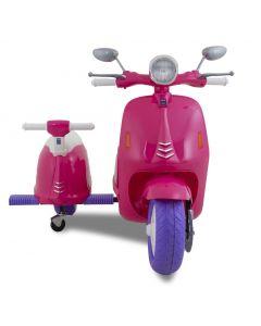 Vespa elektrische kinderscooter met zijspan roze