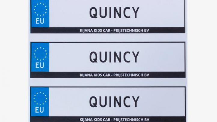 Gratis kenteken sticker elektrische kinderauto